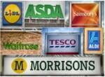 a collage of supermarket signs showing their logos